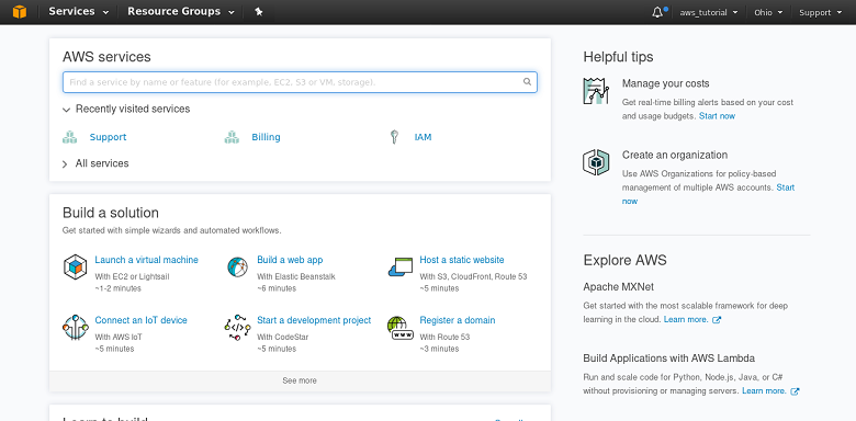 Screenshot: AWS Management Console