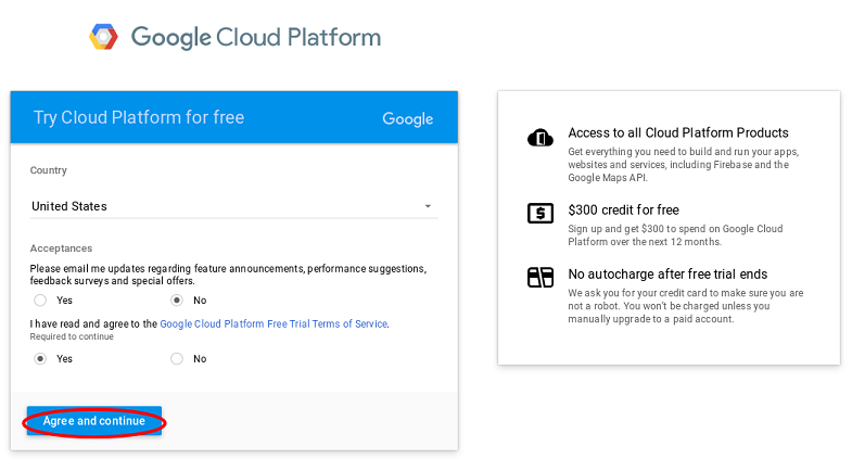 Screenshot: GCP Terms
