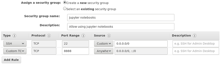 Screenshot: Security groups