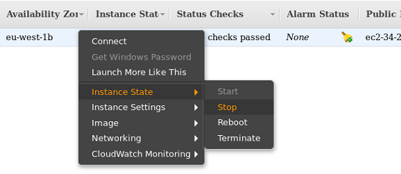 Screenshot: Stop instance