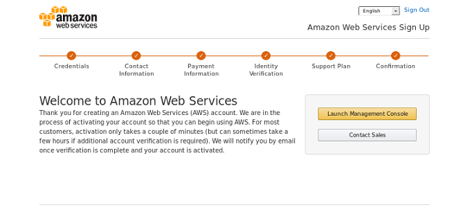 Screenshot: AWS signup confirmation