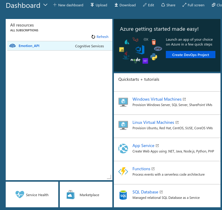 Screenshot Azure No 5 - Dashboard