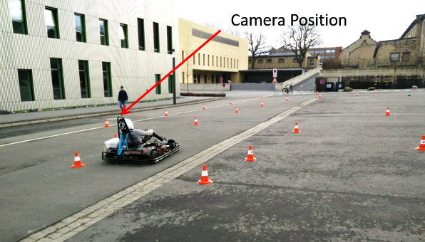 Camera mountet on kart for test purposes