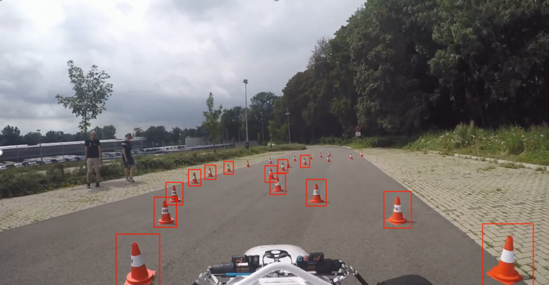 Detected cones on a testdrive